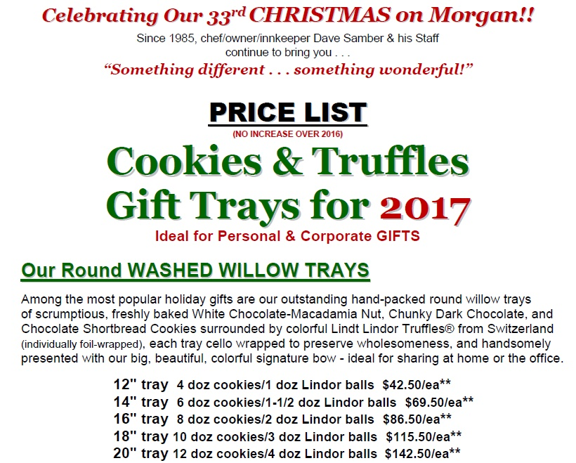 Cookie Price List 2017