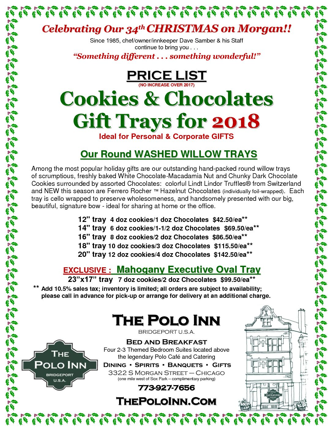 Cookie Tray Price List 2018