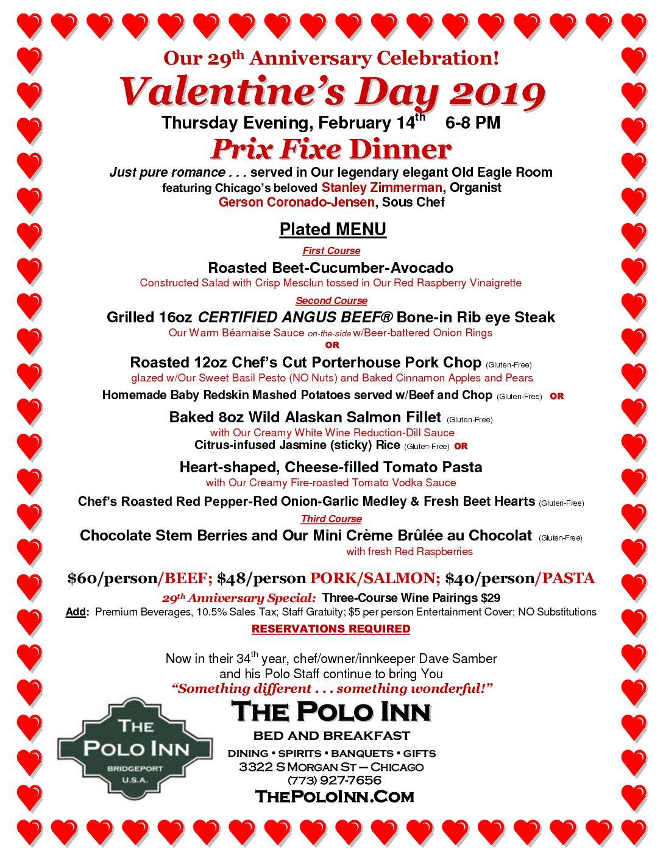 Valentine 2019 Dinner Menu PDF