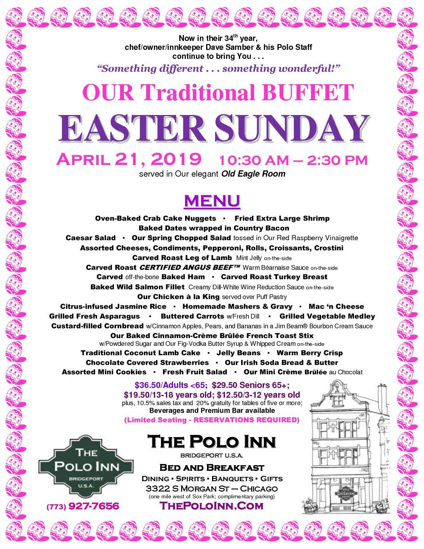 Easter Sunday 4-21-19 Menu